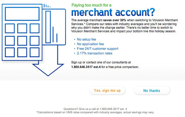 volusion merchant account ad