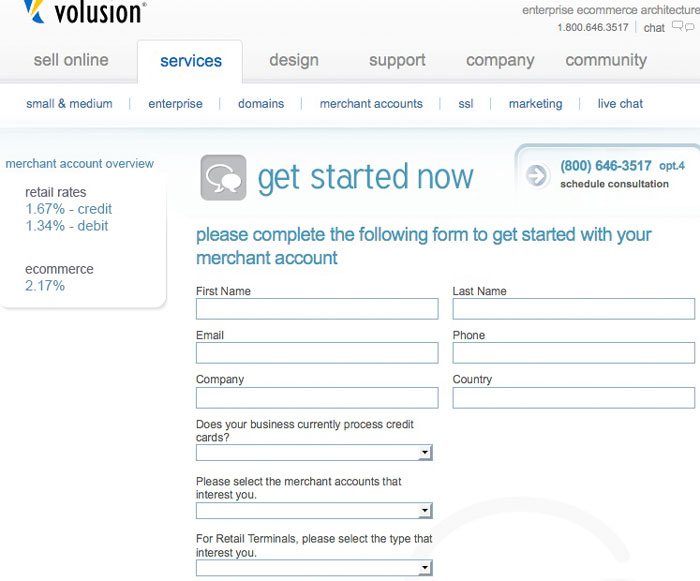 volusion merchant account application