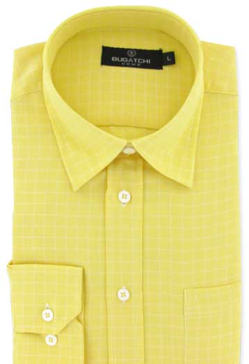 mens yellow plaid shirts by Bugatchi Uomo