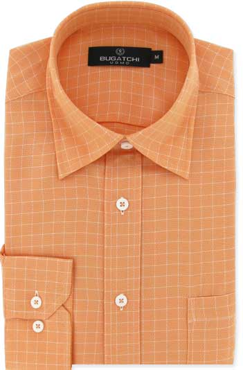 mens long sleeve orange plaid shirts by Bugatchi Uomo
